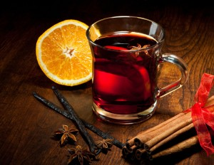 Hot wine for winter and Christmas with delicious orange and spic